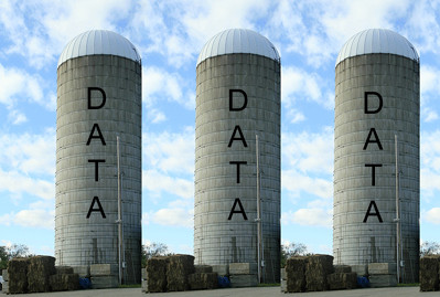 Image of grain silos with the word 'DATA' written on them.