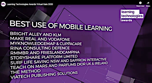 Image of Nominees for Best Use of Mobile Learning.