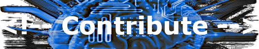 Image of a printed circuit with the word 'Contribute'.